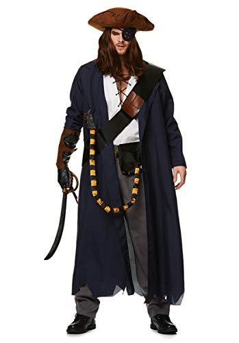Pirate Captain Costume Set - Halloween Sailor Sea Villain Long Coat, -