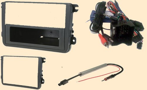Radio Stereo Install Dash Kit single or Double din + Steering control wiring + canbus wire harness + antenna adapter for VW Volkswagen Cars
