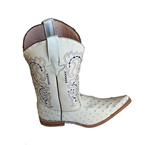 Botas Vaqueras De Cuero Genuino De Avestruz En Relieve Cowboy Botas De Lujo Hechas A Mano De Color Blanco