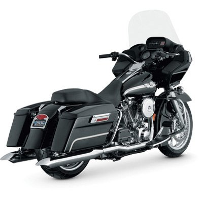 (Vance & Hines Touring Slip-On Motorcycle Exhaust Straight-Cut With Turn-Down End Caps - Fits: Harley-Davidson CVO Road King FLHRSE 2002-2003)