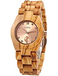 GBlife Women Wooden Watch with Rosegold Dial-Casual Series/Lightweight/Natural/Handmade/Adjustable Wood Watch...