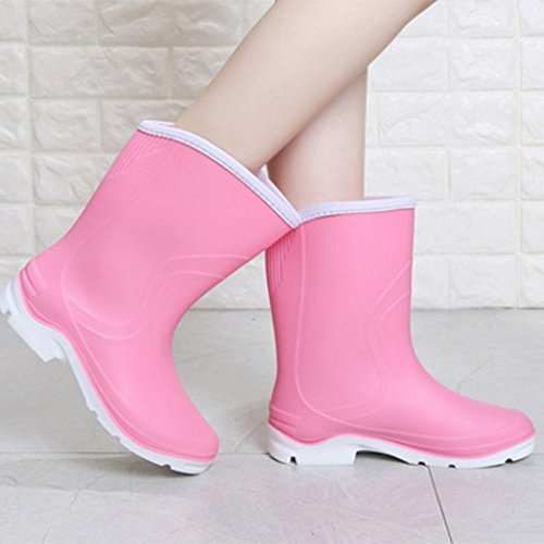 Summer skid Waterproof UK3 Female Shoes NAN boots rain Women's Water Adult EU36 Fashion Color Pink Tube Boots Rubber Shoes Work Shoes Purple Spring Anti Cover Size 5 Rain CN35 0U7q6w4q