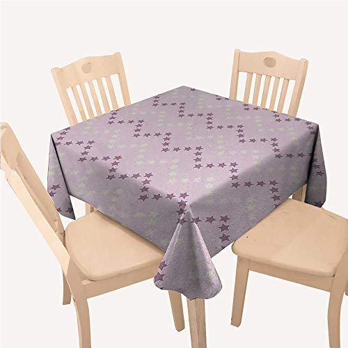 WilliamsDecor Mauve Small Square Tablecloth Zig Zag Stars Striped Pattern in Pastel Color Ranking Choice Kids Artsy PrintYellow and Lilac Square tablecloths W50 xL50 inch for $<!--$29.90-->