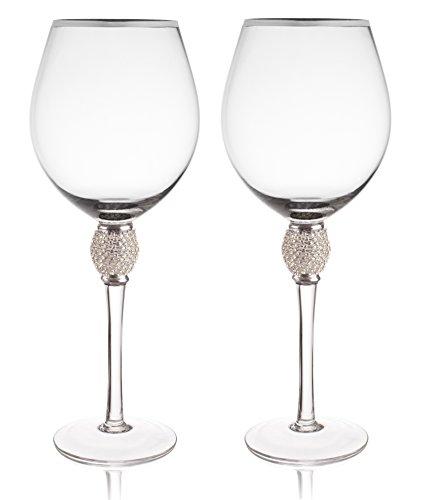 Trinkware Set of 2 Wine Glasses - Rhinestone DIAMOND Studded With Silver Rim - Long Stem, 16oz, 10-inches Tall – Elegant Glassware And Stemware