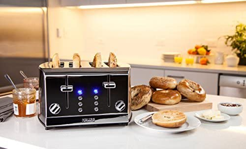 KRUPS KH734D Breakfast Set 4-Slot Toaster with Brushed and Chrome Stainless Steel Housing, 4-Slices with Dual Independent Control Panel, Silver (Renewed)