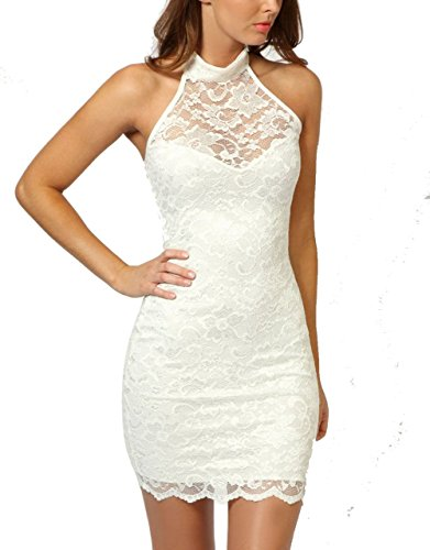 MicaCooL Women's Sexy Polo Neck Floral Lace Cocktail Evening Mini Dress Party Clubwear