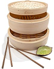 Handmade Two Tier Bamboo Steamer Basket - Dim Sum Dumpling & Bao Bun Chinese Food Steamers - Asian Cooking Tools Set With Chopsticks & Sauce Plate - Steam Baskets For Rice, Vegetables & Fish