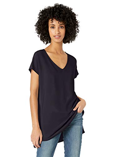 Tunic V-neck Lightweight - Daily Ritual Women's Supersoft Terry Dolman-Sleeve V-Neck Tunic, Navy, L