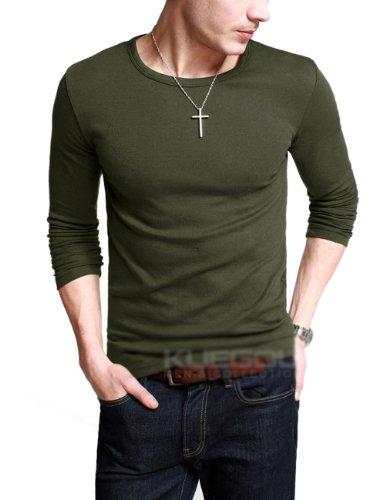 Match K|G Mens Basic T-shirts Series Crewneck/Long sleeve/Slim fit #ST801(US L (Tag size 2XL),Army green)