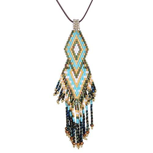 BeadChica Handmade Boho Geometric Long Necklace for Women Tassel Beadwork Jewelry (Color 2)