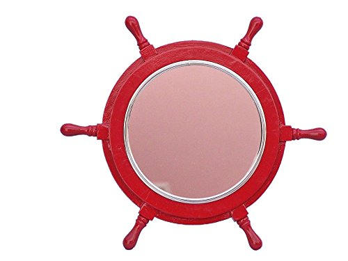 Deluxe Class Red Ship Wheel Mirror with Chrome Trim 16