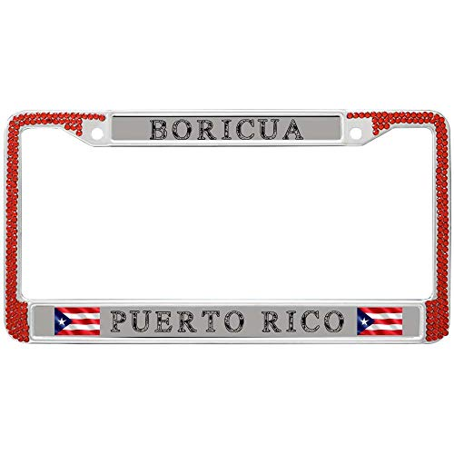 GND Metal License Plate Frame,Stainless Steel License Plate Frame Custom Boricua Puerto RICO Personalized License Plate Frames Screened Full View Frame with Shiny Sparkling Crystal Rows