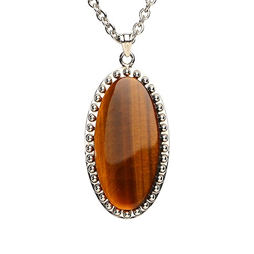 iSTONE Natural Gemstone Tiger's Eye Fine Steel Geometric Pendant Necklace For - Necklace Geometric Tigers Eye