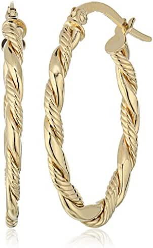 14k Gold Italian Oval Twisted Hoop Earrings