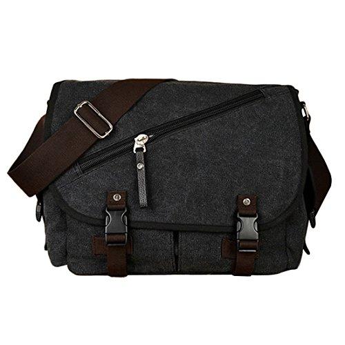 hombro Canvas Messenger Bag para Bolso UNYU hombre al negro Shoulder xOqdWnEgY