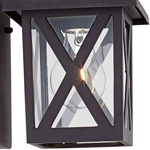 Elkins Rustic Outdoor Wall Light Fixtures Set of 2 Black 7 1/2″ Clear Glass Cottage Lantern
