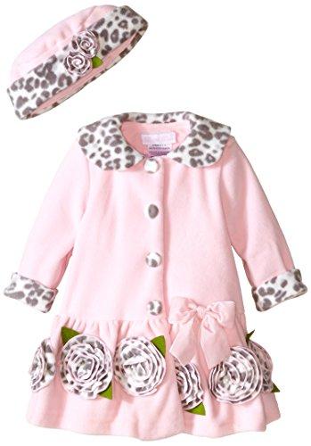 Bonnie Baby Baby-Girls Infant Leopard Trim Fleece Coat and Hat Set, Pink, (Fleece Leopard Coat)