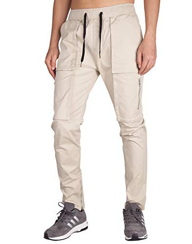 ITALY MORN Men's Chino Cargo Pants Slim Fit Ankle Zipper (XS, Cream Khaki) ()
