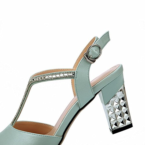 Soft Material Heels Heel Sandals Rhinestones Studded Womens Kitten Blue 1TO9 nvOqZfAxv