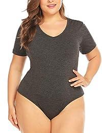 IN'VOLAND Womens Plus Size Bodysuit Short Sleeve V Neck Stretchy Bodysuits Leotard Top