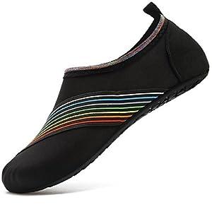VIFUUR Water Sports Shoes Barefoot Quick-Dry Aqua Yoga Socks Slip-on Men Women Kids XidaiBlack-38/39