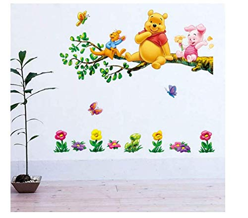Stickerlovely Cartoon The Pooh Flowers Wall Decals Sticker Decor PVC Removable Kids 70X50Cm ()
