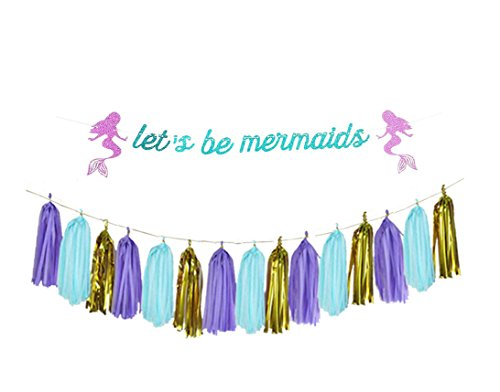 Ucity 16pcs Mermaid Theme Under the Sea Party Decorations kit - Let's be Mermaids Banner, 15pcs Gold lavender Turquoise Tissue Tassels Garland for Bridal shower, Birthday Party and Bachelorette Party