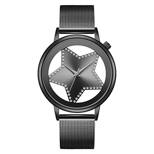 Quartz Watch Women Fashion Steel Star Rhinestone Hollow Analog Round Mujer Designer Wrist Watch ()