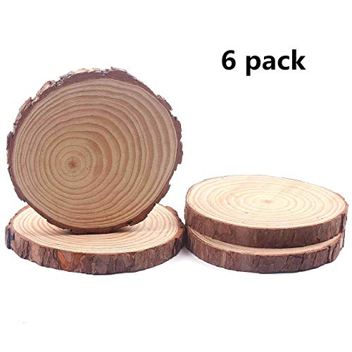 Natural Wood Slices, Round Basswood Slabs, 6 to 7 inch, Rustic Tree Bark Slice, Weathered Log Disc, Outdoor Country Barn Wedding Table Centerpiece, (Pack of 6)
