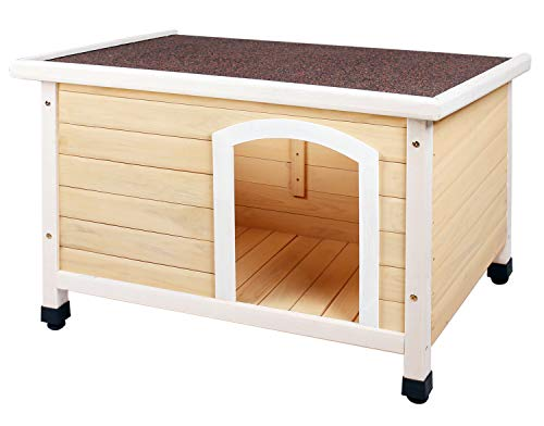HiCaptain Waterproof Solid Cedar Pet House Deluxe Dog Kennel Universal Fits for Small Medium Large Animals (M:40.5 x 25.6 x 27.6 Inch, Natural)