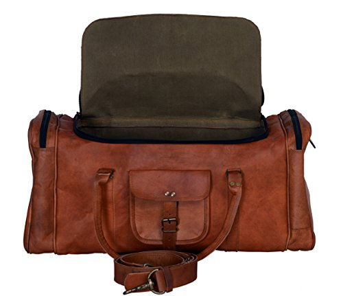 Leather Vintage Carry On (Komal's passion Leather 24 inch U Zip Duffel holdall Travel sports Overnight Weekend Leather Bag for gym Sports Cabin)