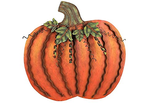ACCENTHOME Metal Flat Swirled Pumpkin Decor Fall Harvest Thanksgiving Decor Free Standing Pumpkin Decoration (Large) (Outdoor Pumpkin Decorations)