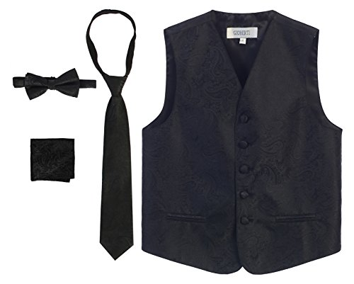 - Gioberti Boy's 4 Piece Formal Paisley Vest Set, Black, Size 2-3