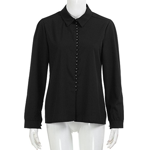 Grande Noir Tops Chemise Chemisier Chic Taille Manche Femme Longue Youngii xBYqnCawW