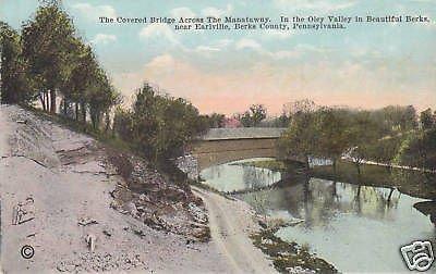D2131 PA, Earlville Covered Bridge Postcard (Pa Bridge Covered)