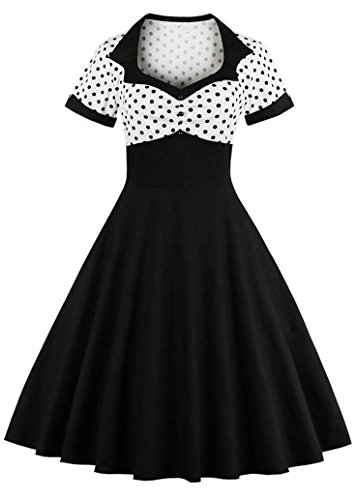 Nihsatin Vintage Polka Dot Retro Cocktail Prom Dresses 50's 60's Rockabilly Black (50 Retro Clothes)