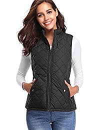 Women's Stand Collar Lightweight Padded Zip Vest Quilted Gilet