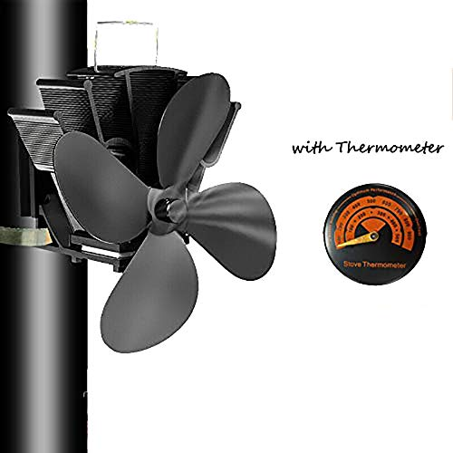 SISIDZ 4 Blades Flue Pipe Stove Fan Heater Powered Fixed on The Chimney Pipe of Wood/Log Burner/Fireplace with Free Thermometer Black
