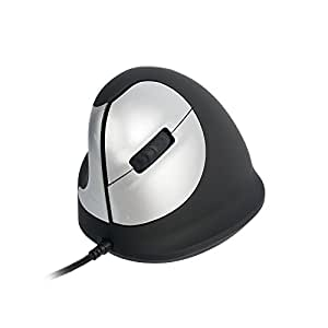 R-Go Tools HE Mouse, - Ratón (Ratón ergonómico, Medio (165-195mm), zurdo, cableada, Izquierda, USB, 3400 DPI, 134 g, Negro, Plata)