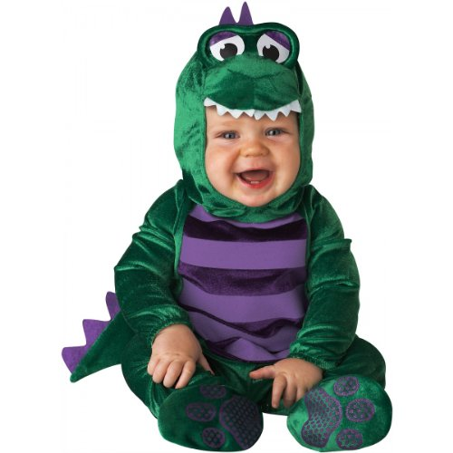 InCharacter Costumes Baby's Dinky Dino Dinosaur Costume, Green/Purple, 12-18 Months]()