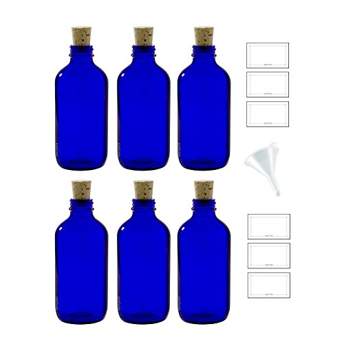 (8 oz Cobalt Blue Glass Boston Round Bottle with Cork Stopper Closure (6 Pack) + Funnel and)