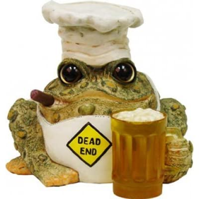 Homestyles Toad Hollow #94134 Figurine Dead End Grillin Toad with Mug of Beer in a Chef Hat and Cooks Apron Grill Character Garden Statue Large Toad Figure Natural Brown : Garden & Outdoor