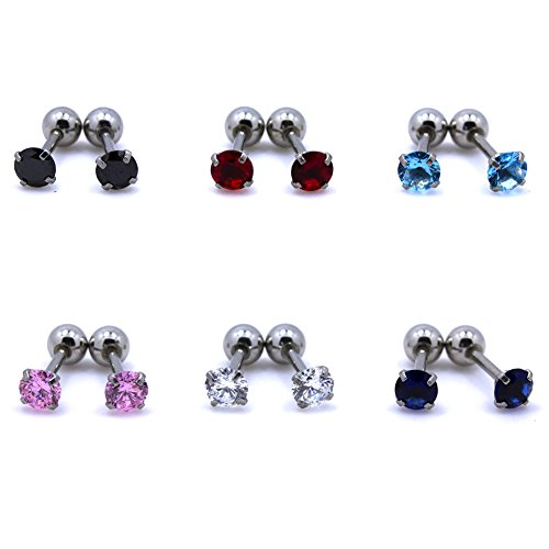 16g Package - SummShine 16G Stainless Steel 4mm Cubic Zirconia Gem Barbell Earring Cartilage Helix Bar Stud Earring (Round Zirconia Set (12pcs))