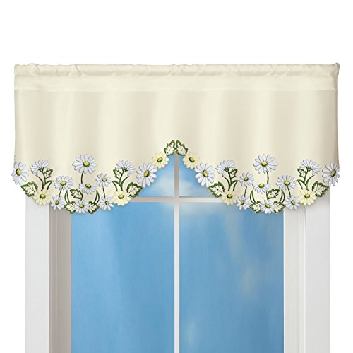 Embroidered White Daisy And Greenery Rod Pocket Window Curtain Valance