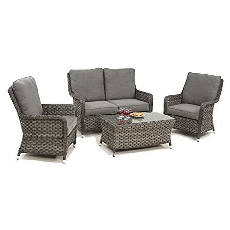 Enjoyable Madrid Rattan High Back 2 Seat Sofa Set Amazon Co Uk Caraccident5 Cool Chair Designs And Ideas Caraccident5Info