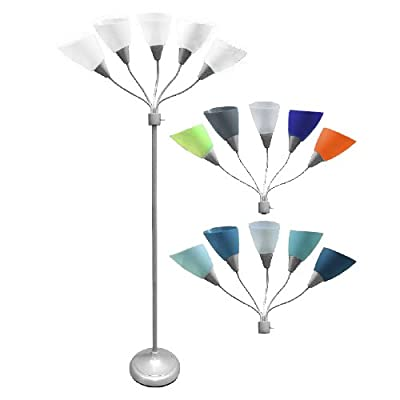 Five Head Spider Floor New Lamp With 14 White? Blue and multi Collection Color Sheads