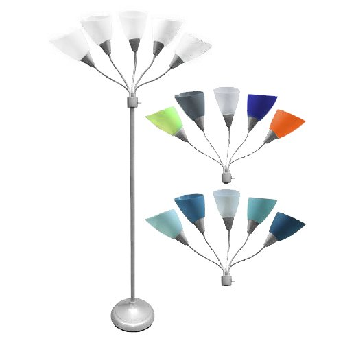 Five Head Spider Floor New Lamp with 14 changable shades,Silver Finish Adjustable heads With Five White And Nine Color Shades