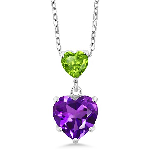 Gem Stone King 1.90 Ct Double Heart Shaped Purple Amethyst Green Peridot 925 Sterling Silver Pendant
