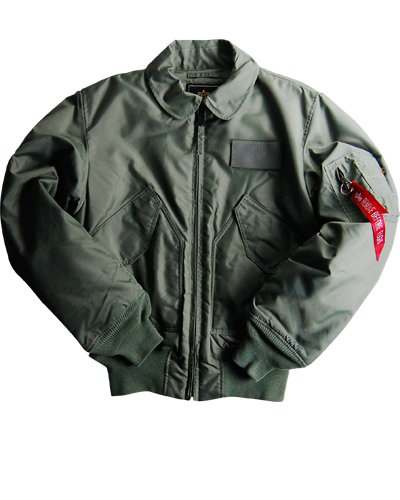(Alpha Industries McGuire Sage Green 45/P Flight Jacket * Nylon outer shell and polyester quilted lining, Tonal Velcro patch, Front zipper closure with storm flap, Knit cuffs and waistband,