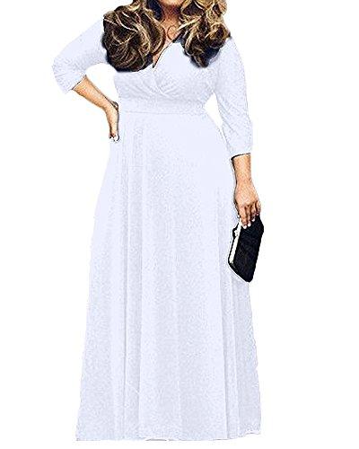 Donne Bianco Cerimonia ShiFan Abiti Neck Vestiti Lunga Taglie V Manica Da Eleganti Forti tqxgwaF